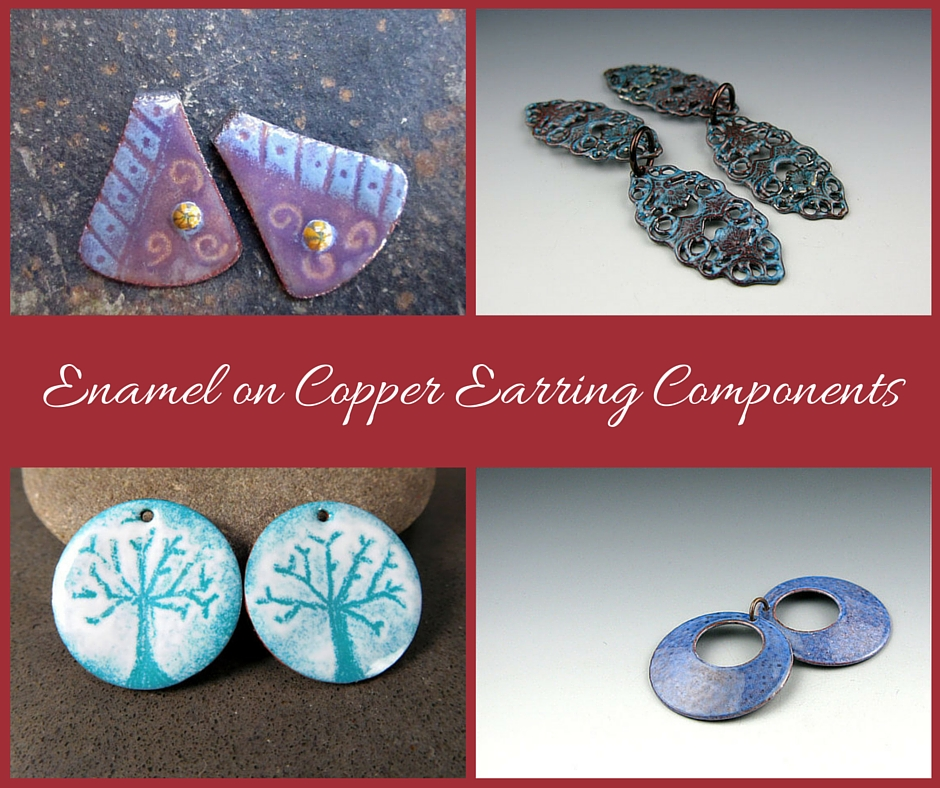 Enamel on Copper Earring Components